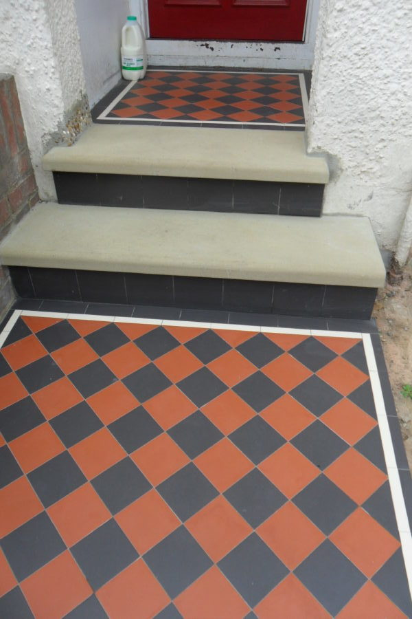 Victorian Tiled Pathway With York Stone Steps In London Area